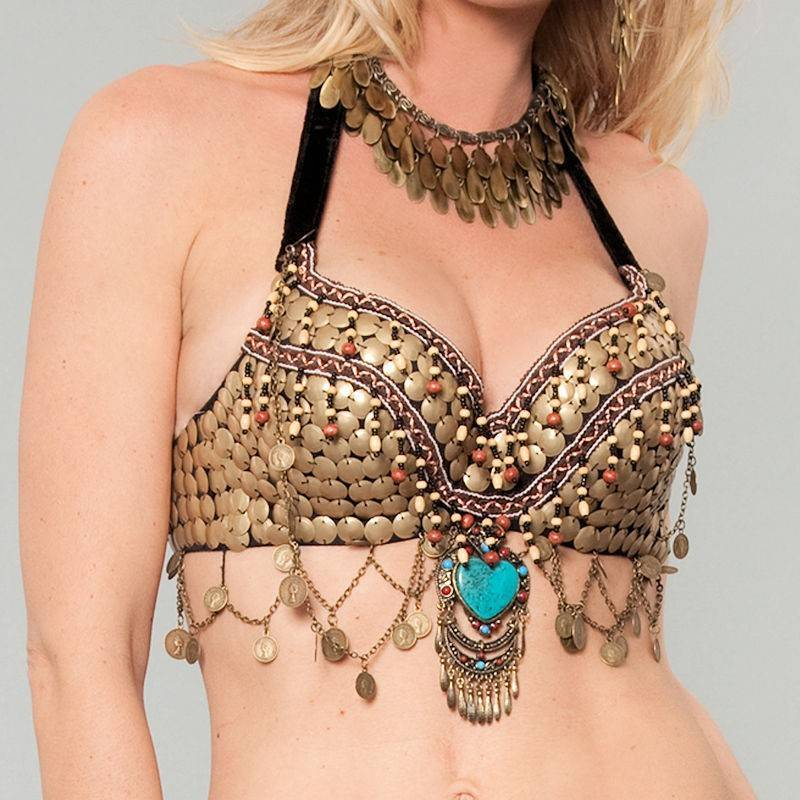 Turquoise Brassy Babe Belly Dance Costume Tribal Top