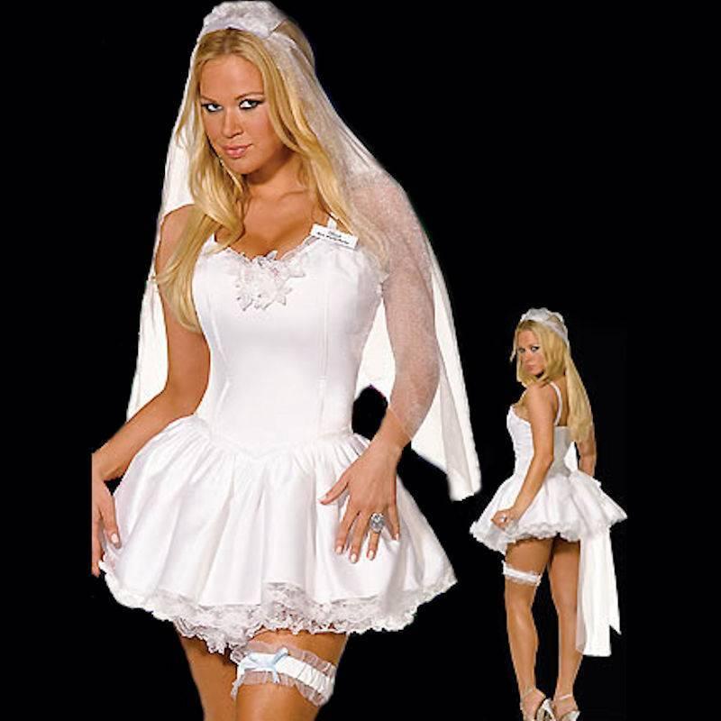 Bridal Costume Lingerie White Dress, Veil and Garter Belt ...