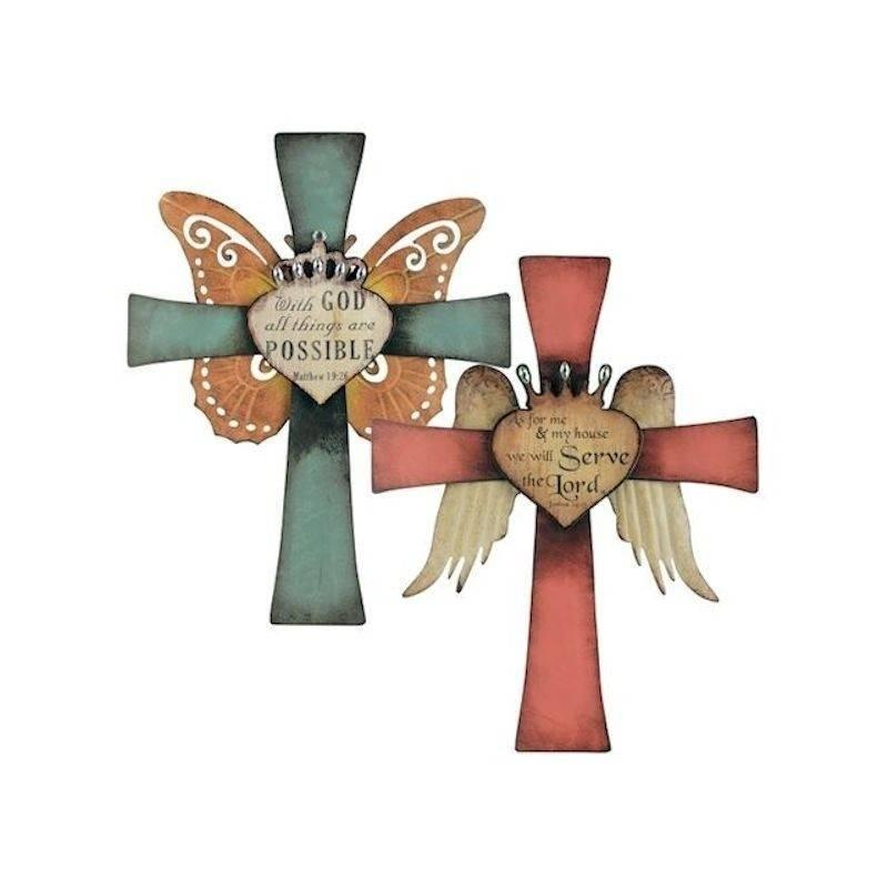 Cross Figurine Wall Art Large Metal with Wings - Click Image to Close
