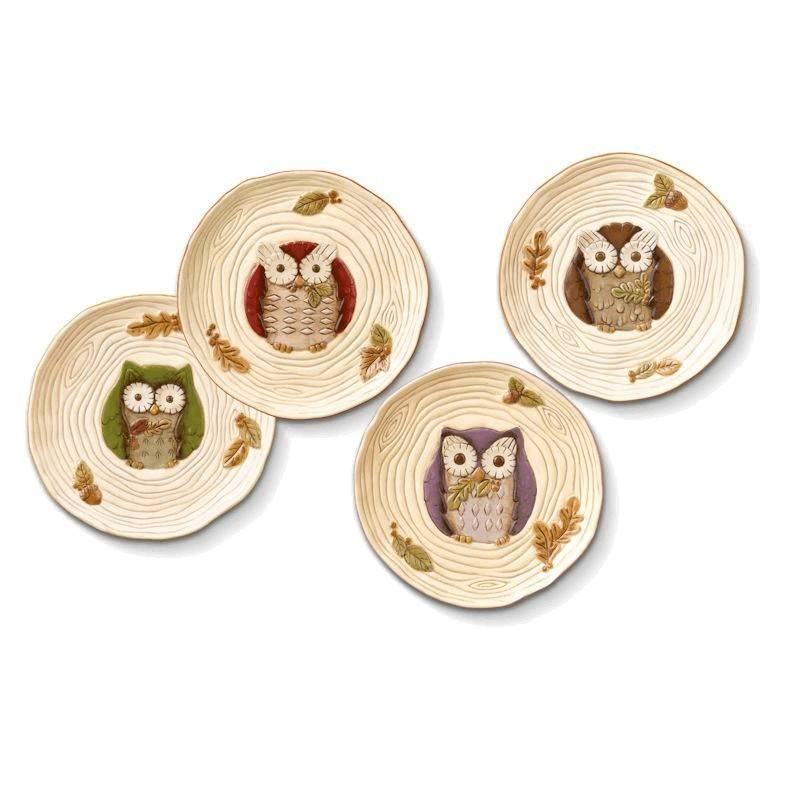 Crimson Hollow Owl Serving Plate u0026 Metal Stand  sc 1 st  Fairy4u : plate with stand - pezcame.com