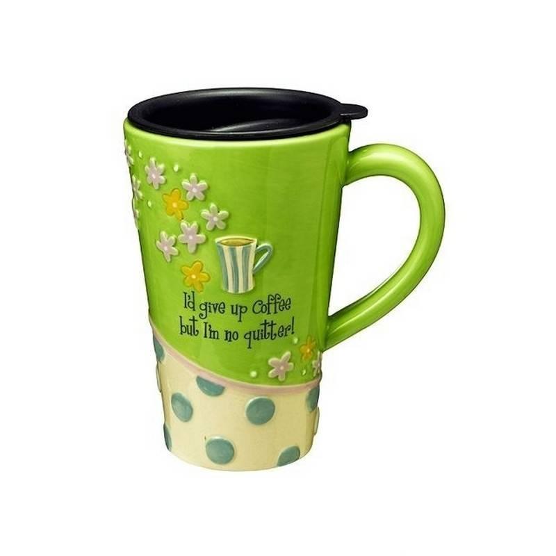 Coffee Travel Mug Ceramic With Funny Saying