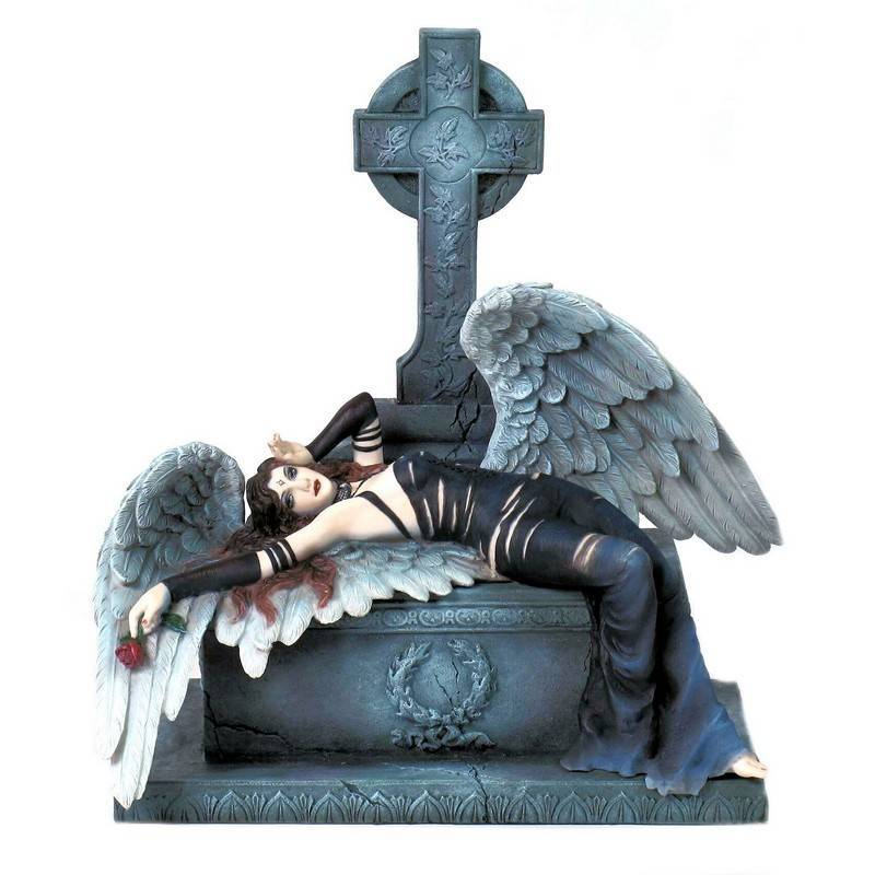 Angel Figurine Grieving On A Grave By Veronese Design 6000