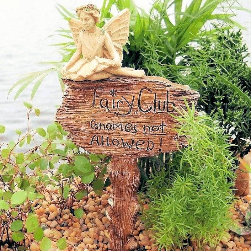 no gnomes sign fairy garden figurine - Garden Figurines