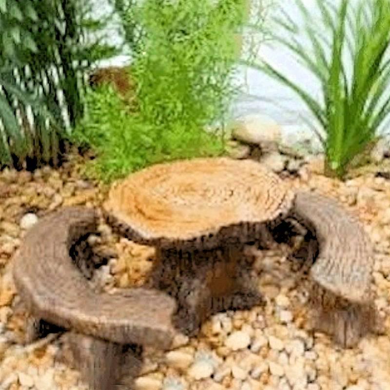 Fairy Garden Table And Bench Figurine Set Tree Stump 16 00