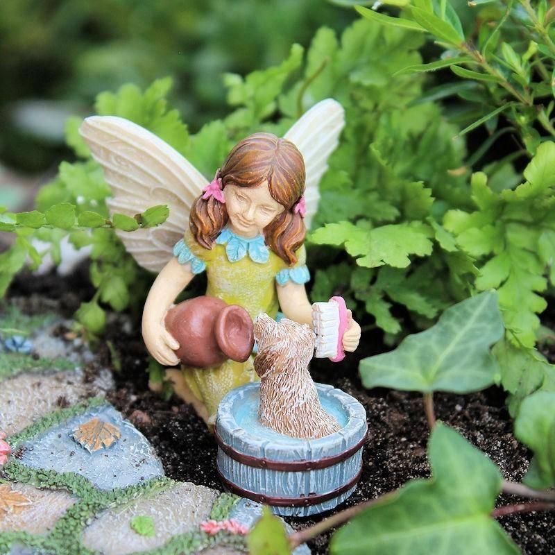Fairy garden katie miniature fairy figurine dog for Fairy garden figurines