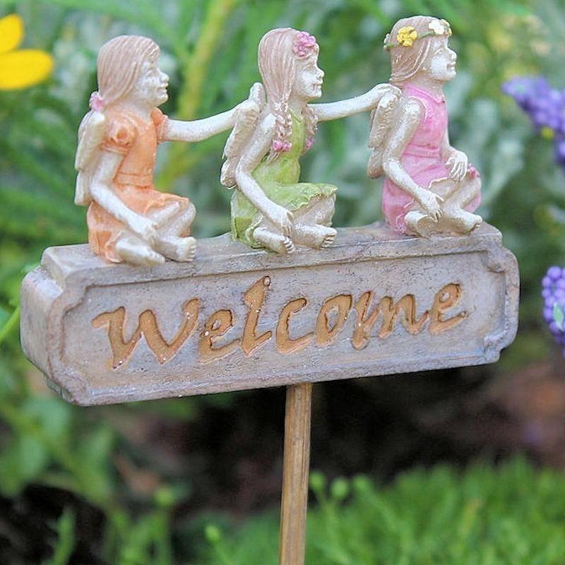 Fairy Garden Sign Welcome Trio Miniature Fairy Figurine