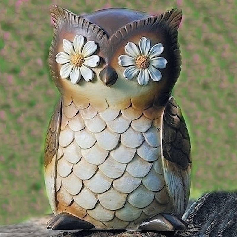 Daisy Eyes Owl Garden Figurine