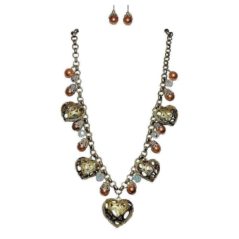 Jewelry Set Vintage Champagne Hearts - Click Image to Close